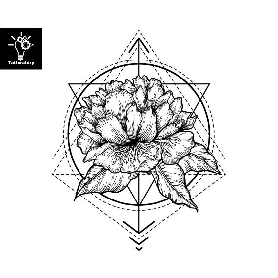 570x570 Peony Temporary Tattoo Peony Tattoo Geometric Flower Tattoo