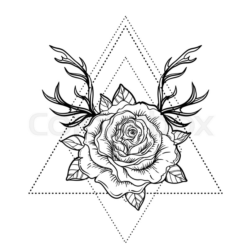 800x800 All Seeing Eye Symbol Over Rose Flower And Deer Antlers. Sacred