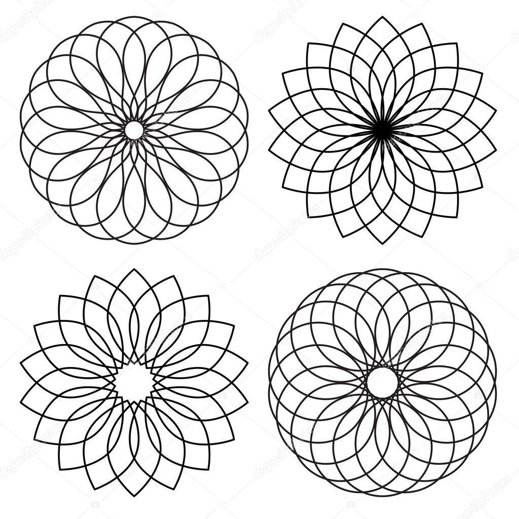 1024x1024 Geometric Flower Shapes Stock Vector Scrapster
