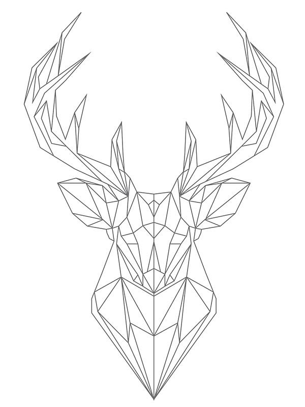600x800 Geometric Buck Deer Head Stickers By Hellomalcolm Redbubble