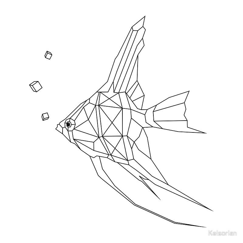 800x800 Geometric Fish, Angel Fish, Geometric Art Canvas Prints By