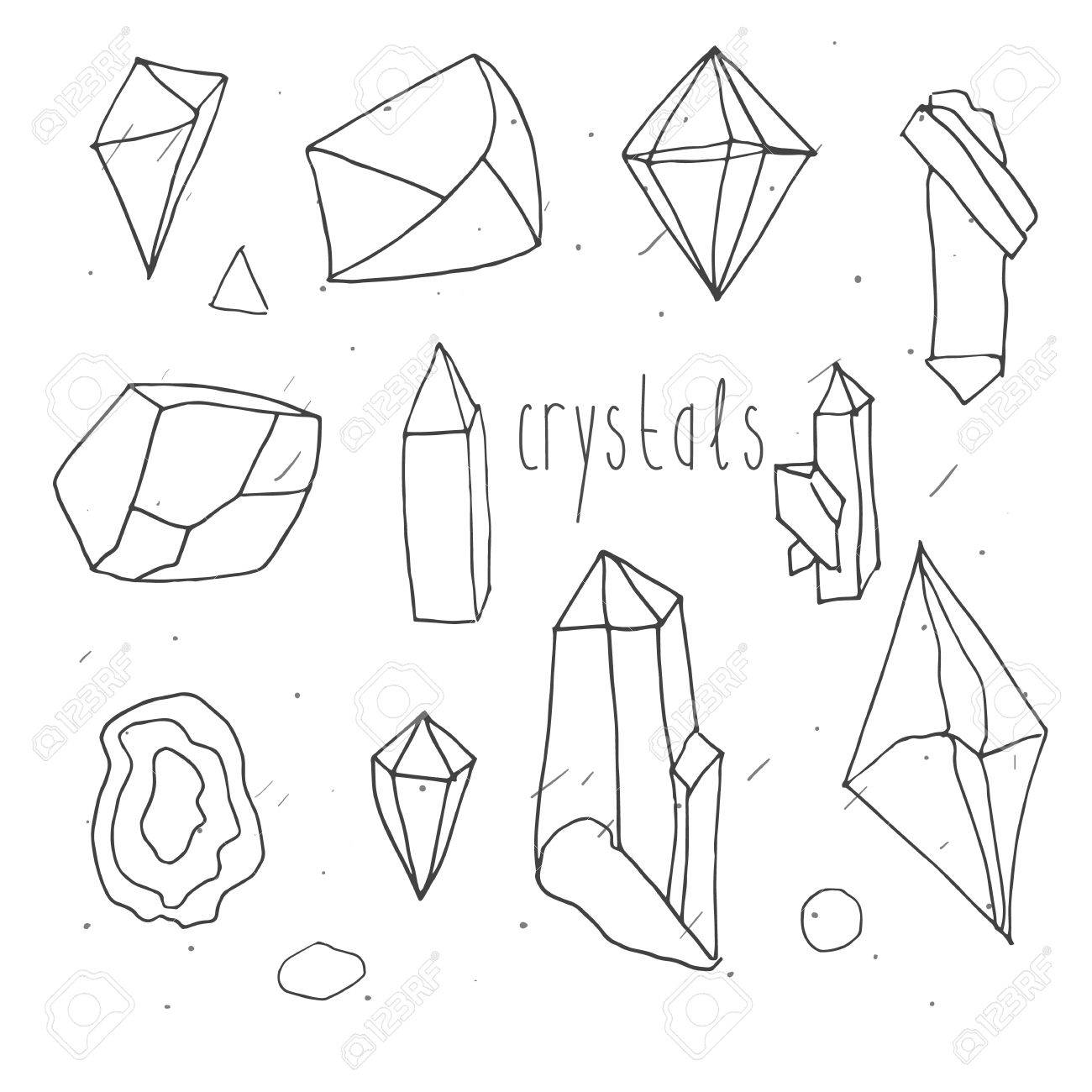 1300x1300 Geometric Polygonal Crystals In Mono Line Hand Draw Style Isolated