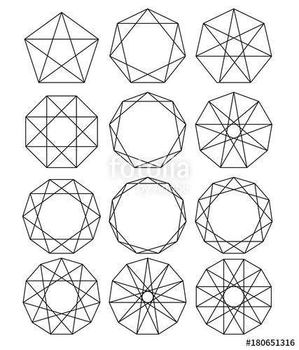 427x500 Set Of Geometric Shapes. Sacred Geometry. Lines Crossing