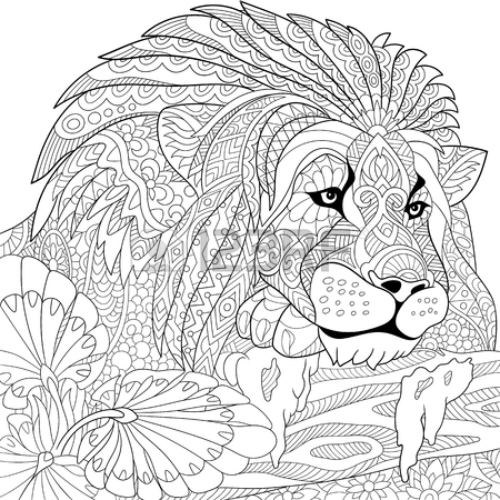 Geometric Lion Drawing