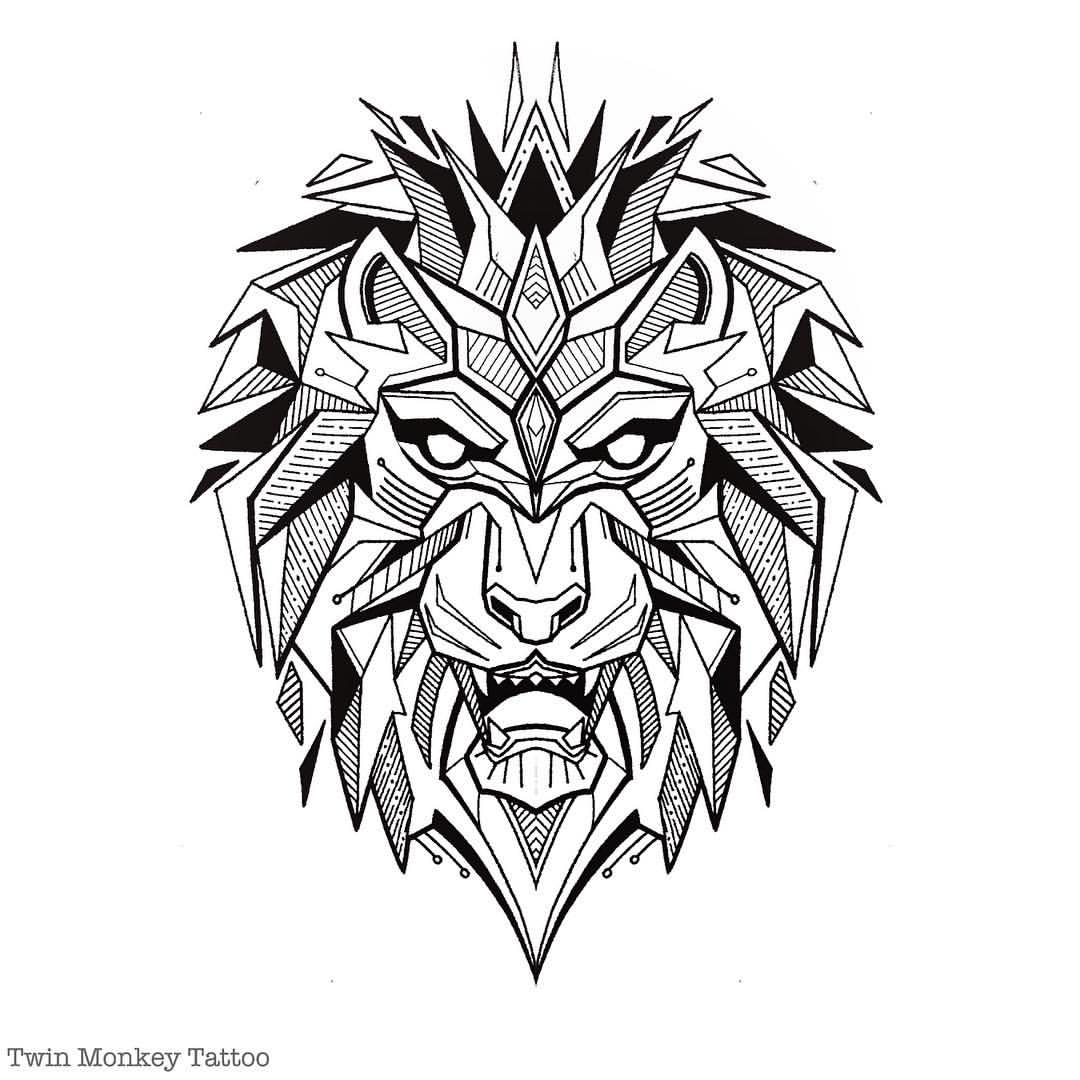 Bear Wall Stickers Geometric Lion Drawing At Getdrawings Com Free For