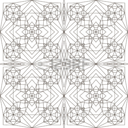 450x450 Geometric Pattern In Black And White. Page For Coloring Book