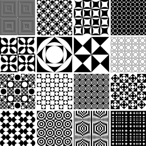 600x600 Monochrome Geometric Seamless Patterns, Vector Images