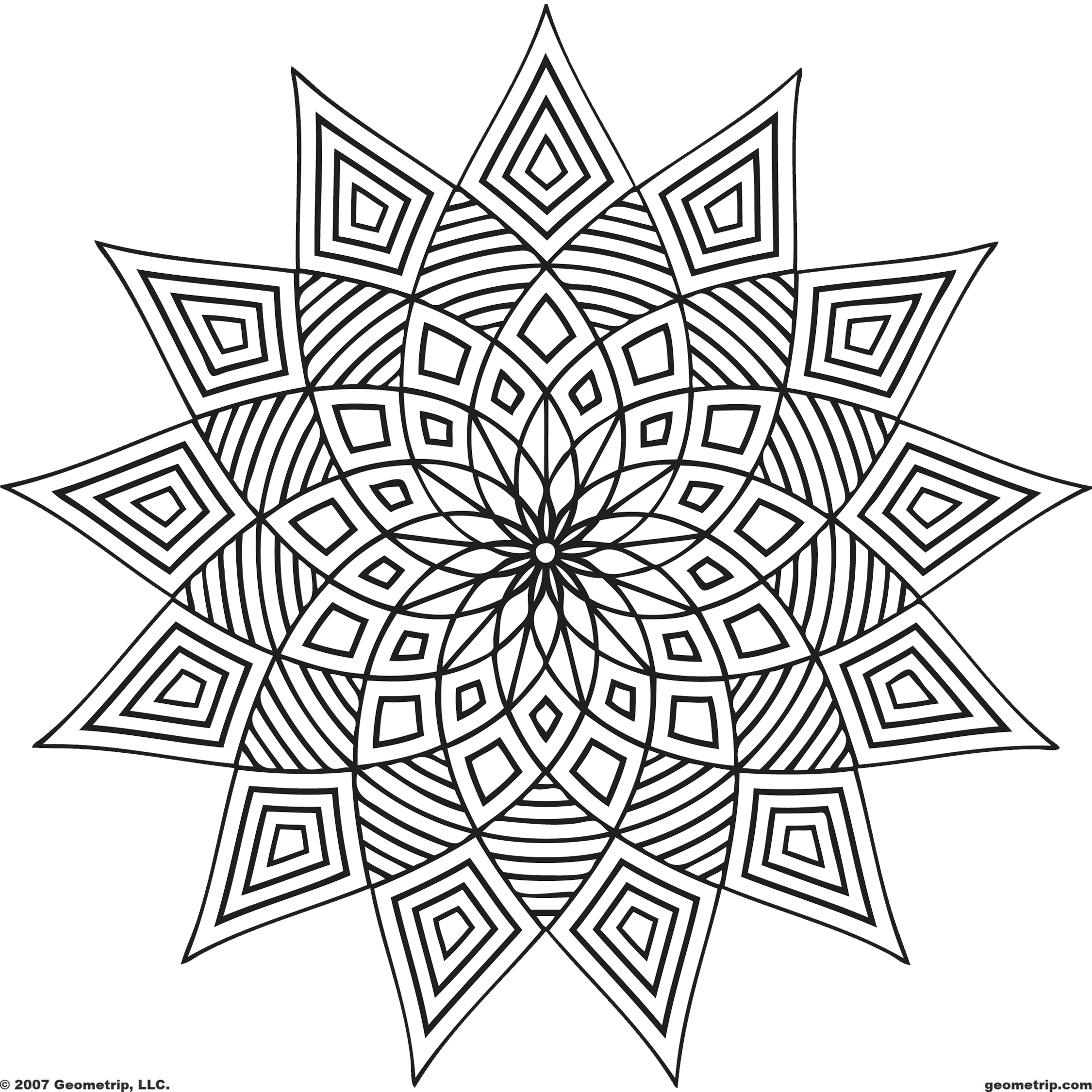 2250x2250 Geometric Shapes Coloring Pages Printable To Snazzy Draw Page