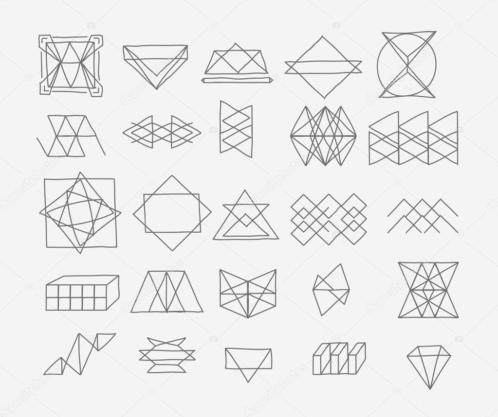 1023x858 Set Of Geometric Trendy Hipster Elements Shapes And Logotypes