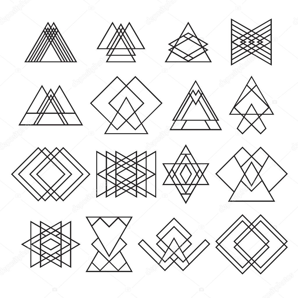 1024x1024 Set Of Trendy Hipster Geometric Shapes. Geometric Logotypes Or I