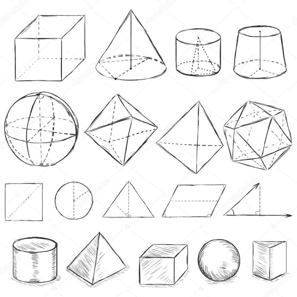 1024x1024 Vector Set Of Dirty Sketch Geometric Shapes Stock Vector