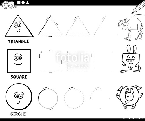 500x417 Draw Basic Geometric Shapes Coloring Page Stock Image And Royalty
