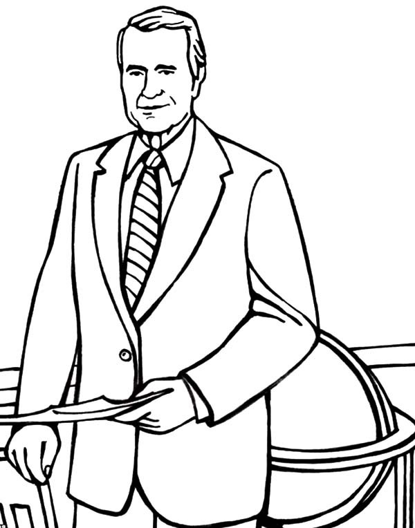600x764 George H Bush Has Some Business Coloring Pages Best Place To Color