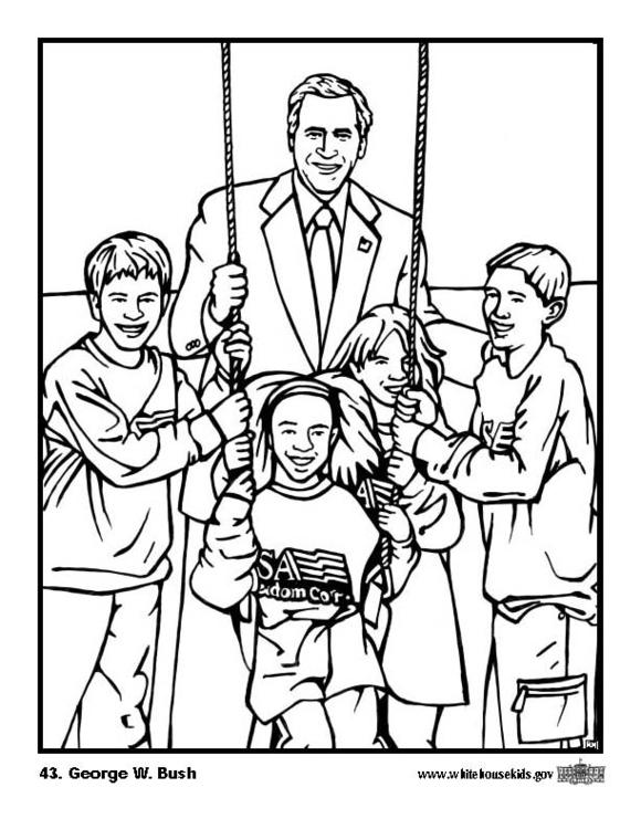 580x750 Coloring Page 43 George W. Bush