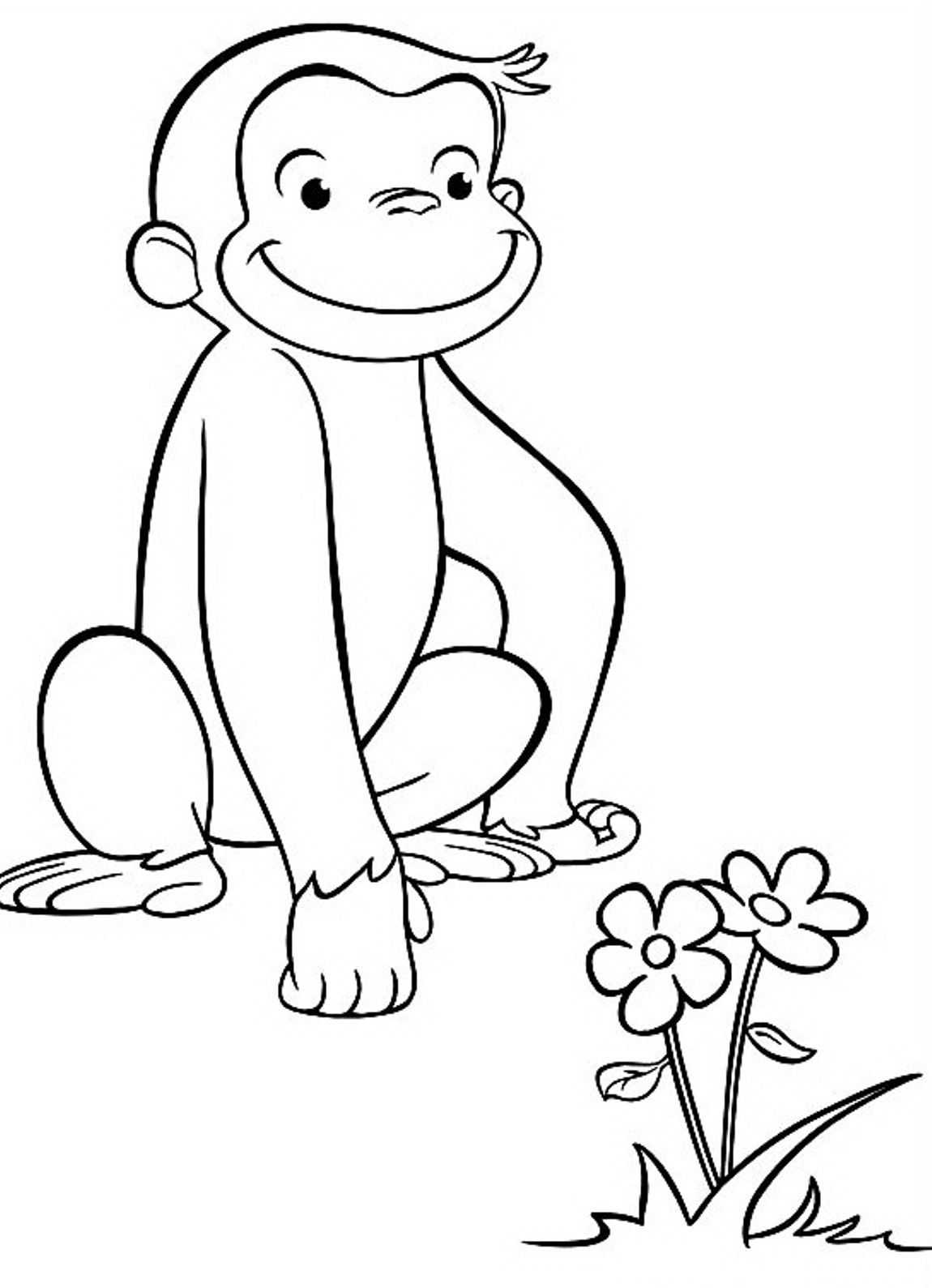 1150x1589 Curious George Drawing Curious George Coloring Pages Seeing Flower