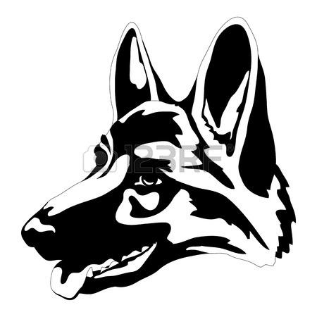 450x450 German Shepherd Dog Head Face Black Silhouette Royalty Free