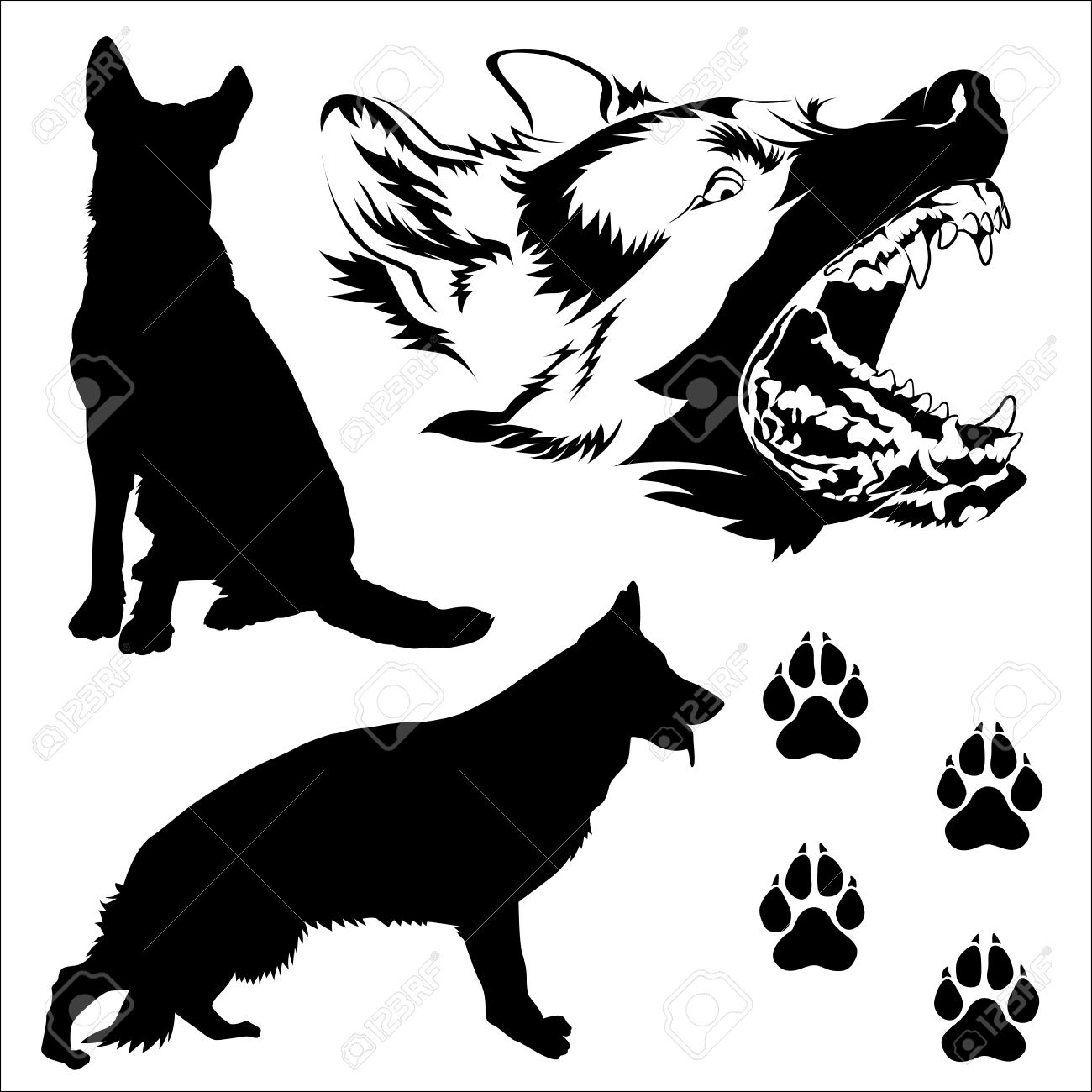 1300x1300 Poses Of German Shepherd Dog Silhouetted Fector In Eps10 Royalty