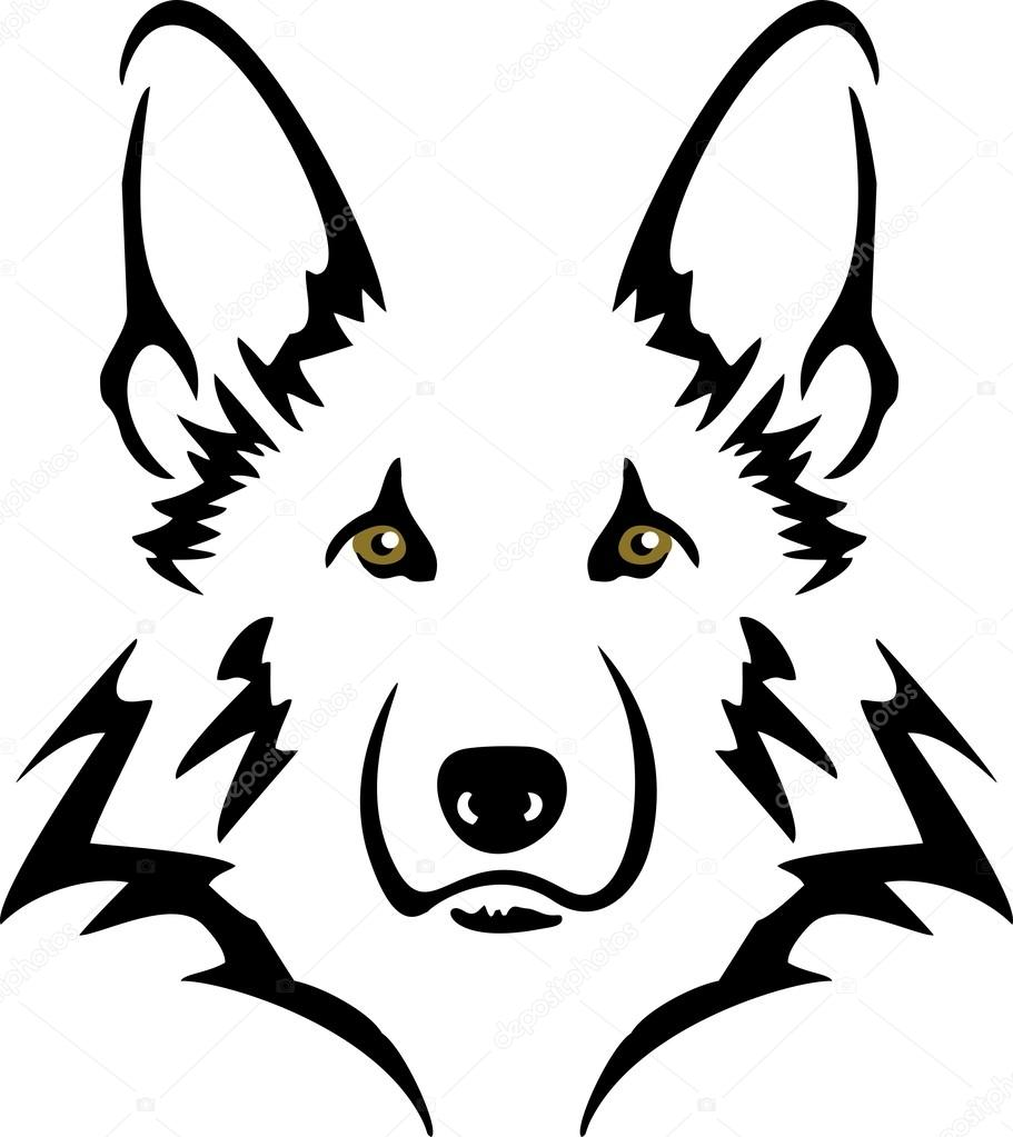 911x1023 German Shepherd Stock Vector Baxspirit