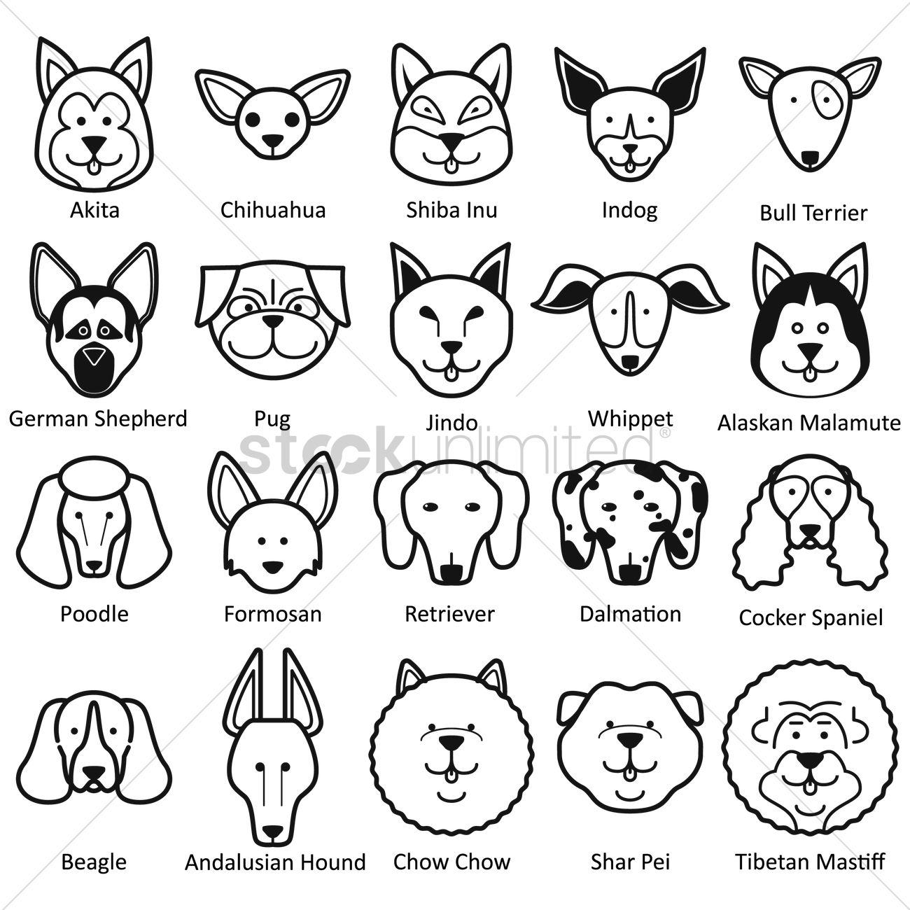 1300x1300 Collection Of Dog Faces Vector Image