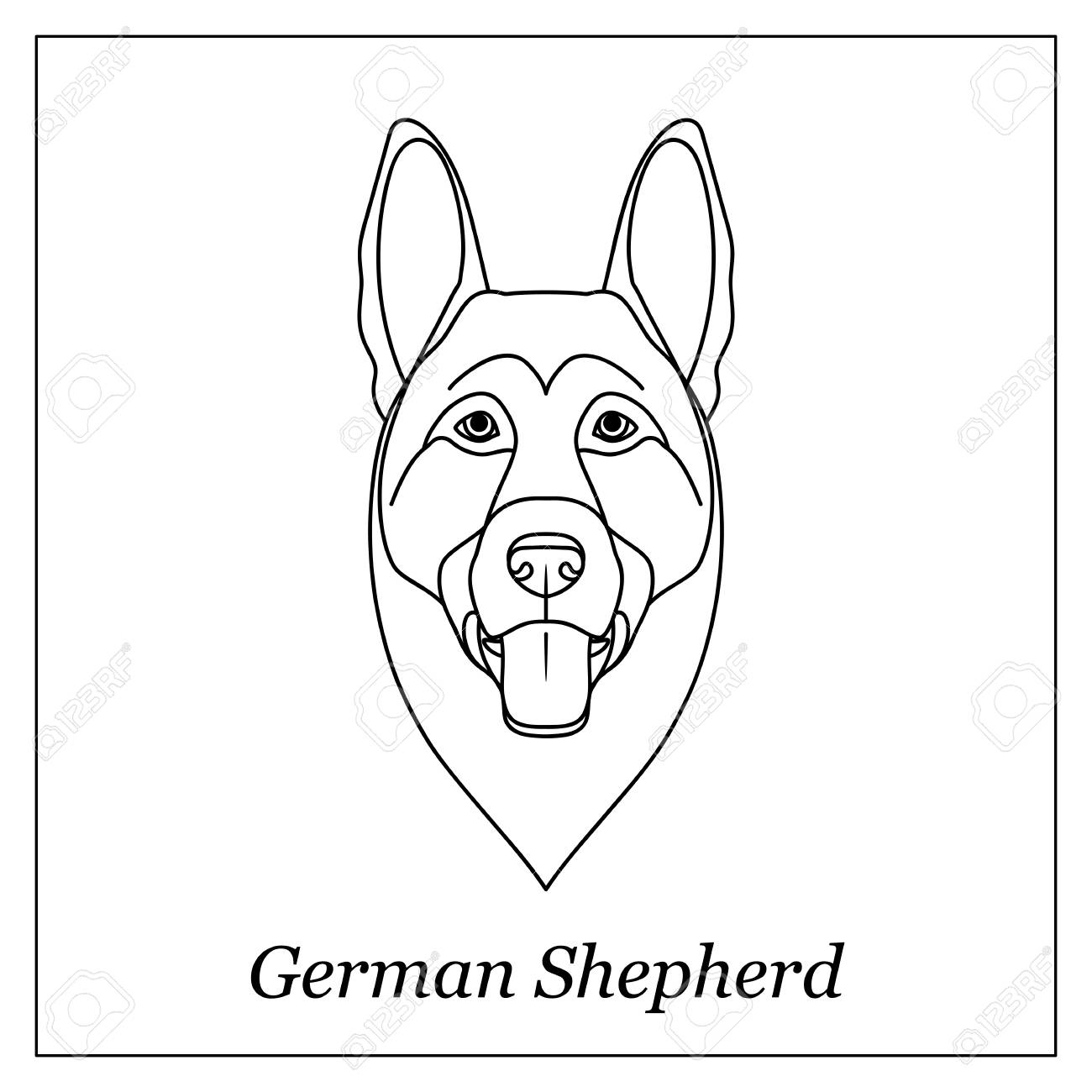 1300x1300 Isolated Black Outline Head Of German Shepherd On White Background