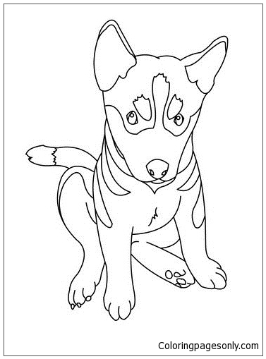 377x509 German Shepherd Puppy Coloring Page