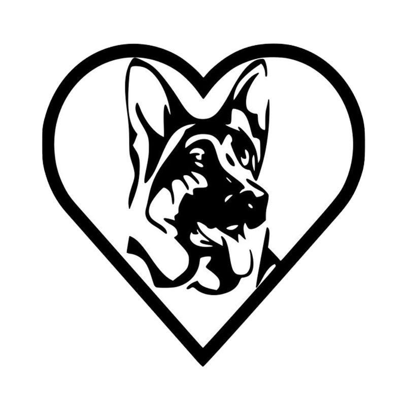 800x800 Heart German Shepherd Car Sticker The Top Dog Deals