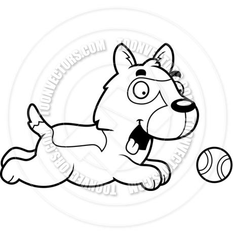 460x460 Cartoon German Shepherd Dog Chasing Ball (Black And White Line Art