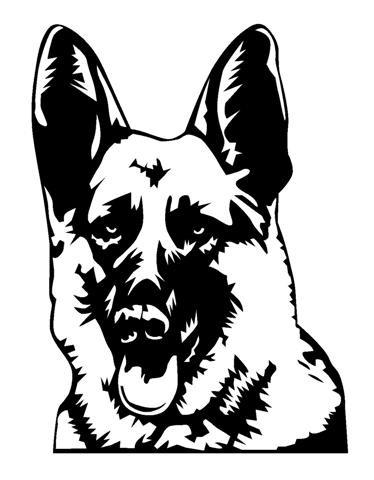 374x480 Evil Black And White German Shepherd Portrait Tattoo Design