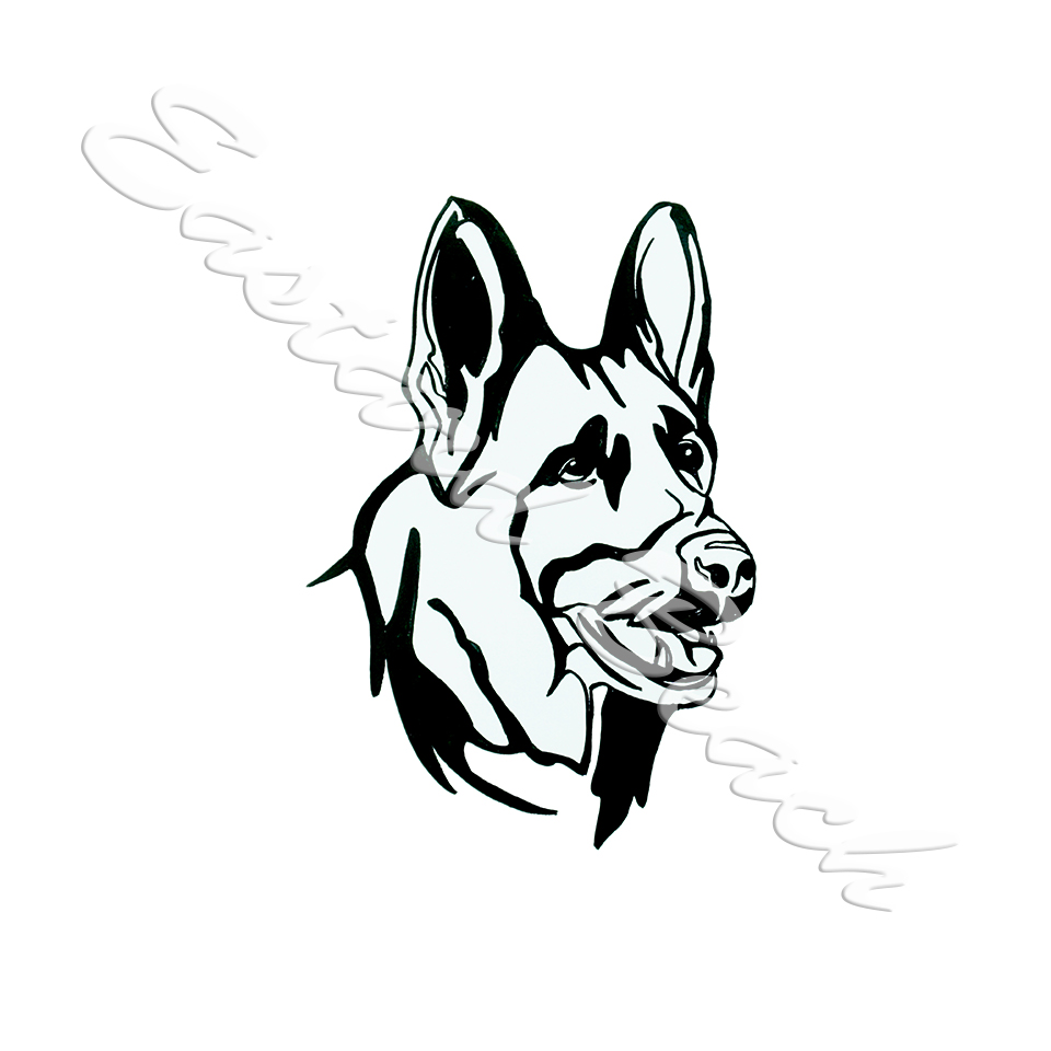 960x960 Download Isolated Black Outline Head Of German Shepherd On White