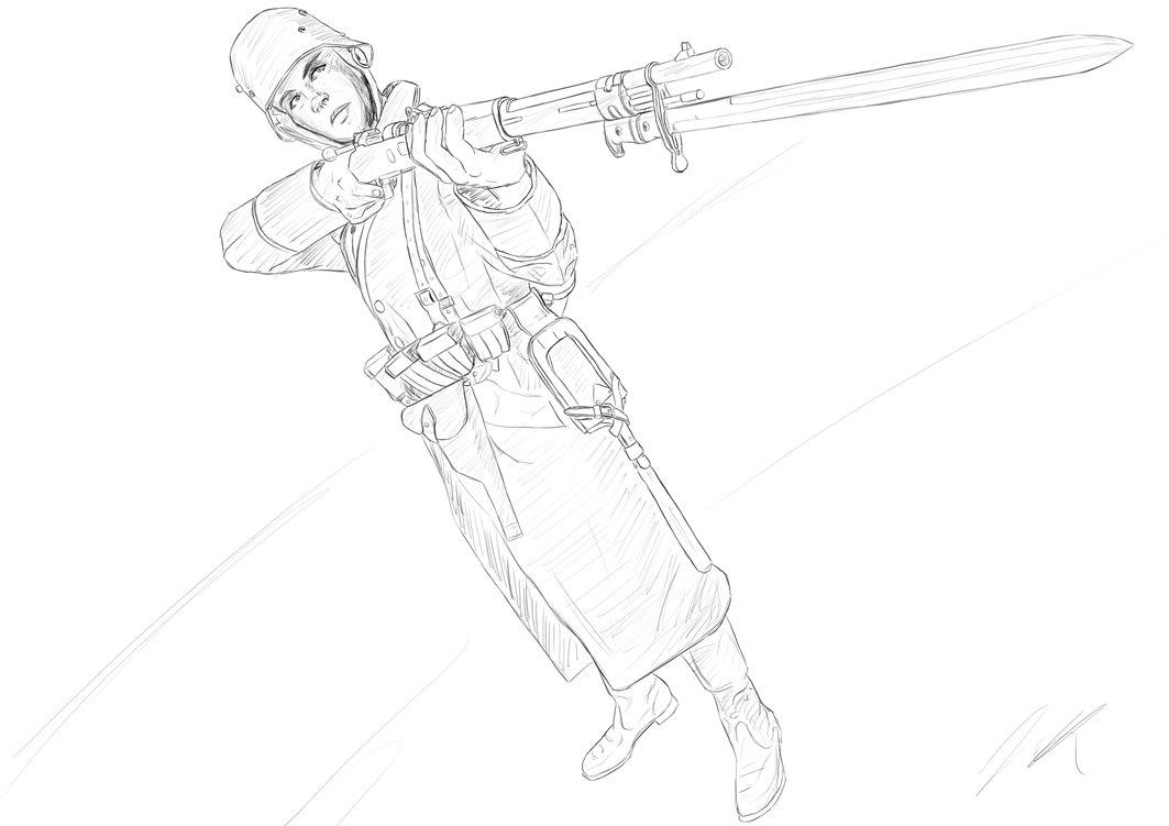 1063x751 Ww1 German Soldier Sketch Something By Gabriel529
