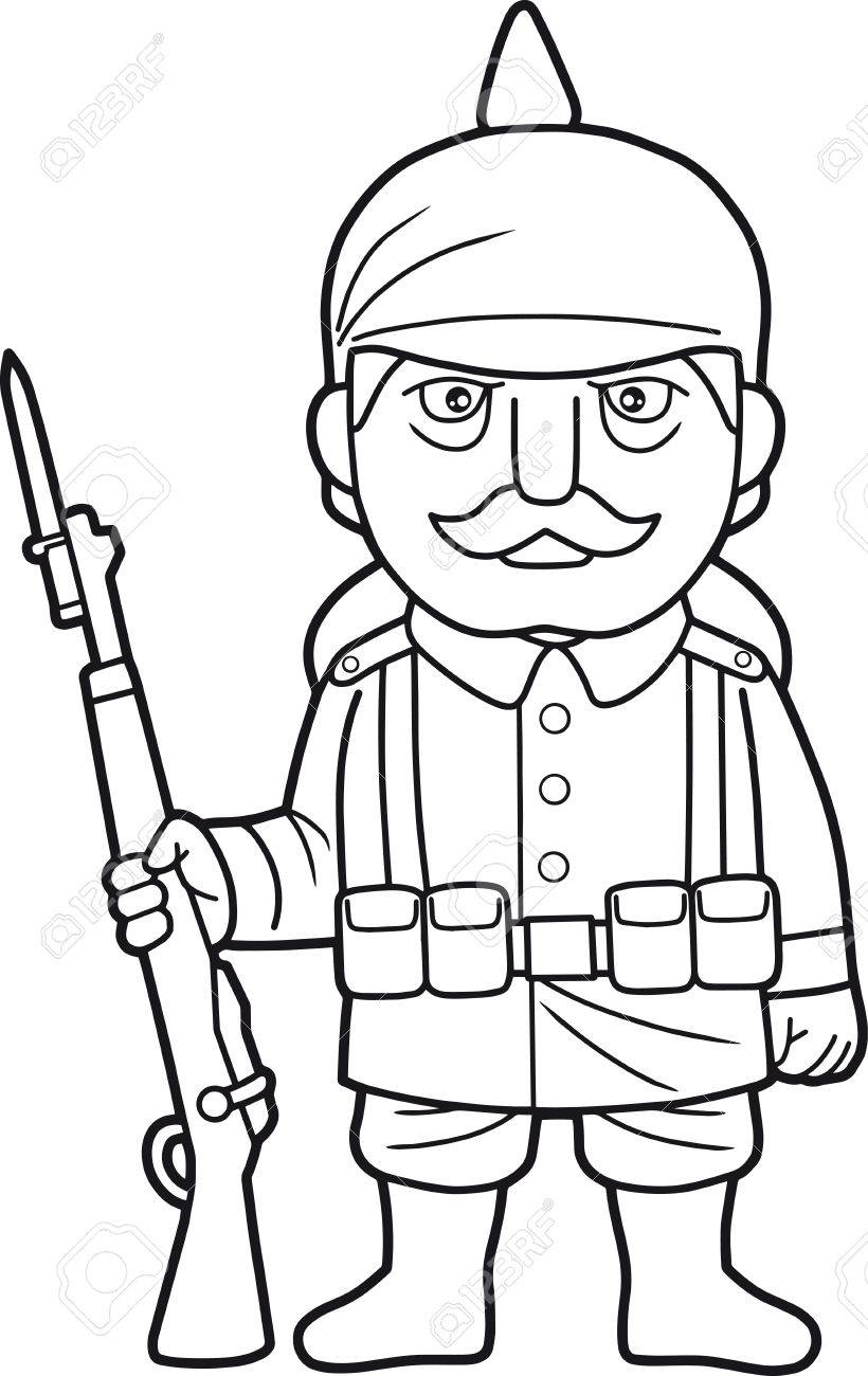 820x1300 Cartoon German Soldier During World War One Royalty Free Cliparts
