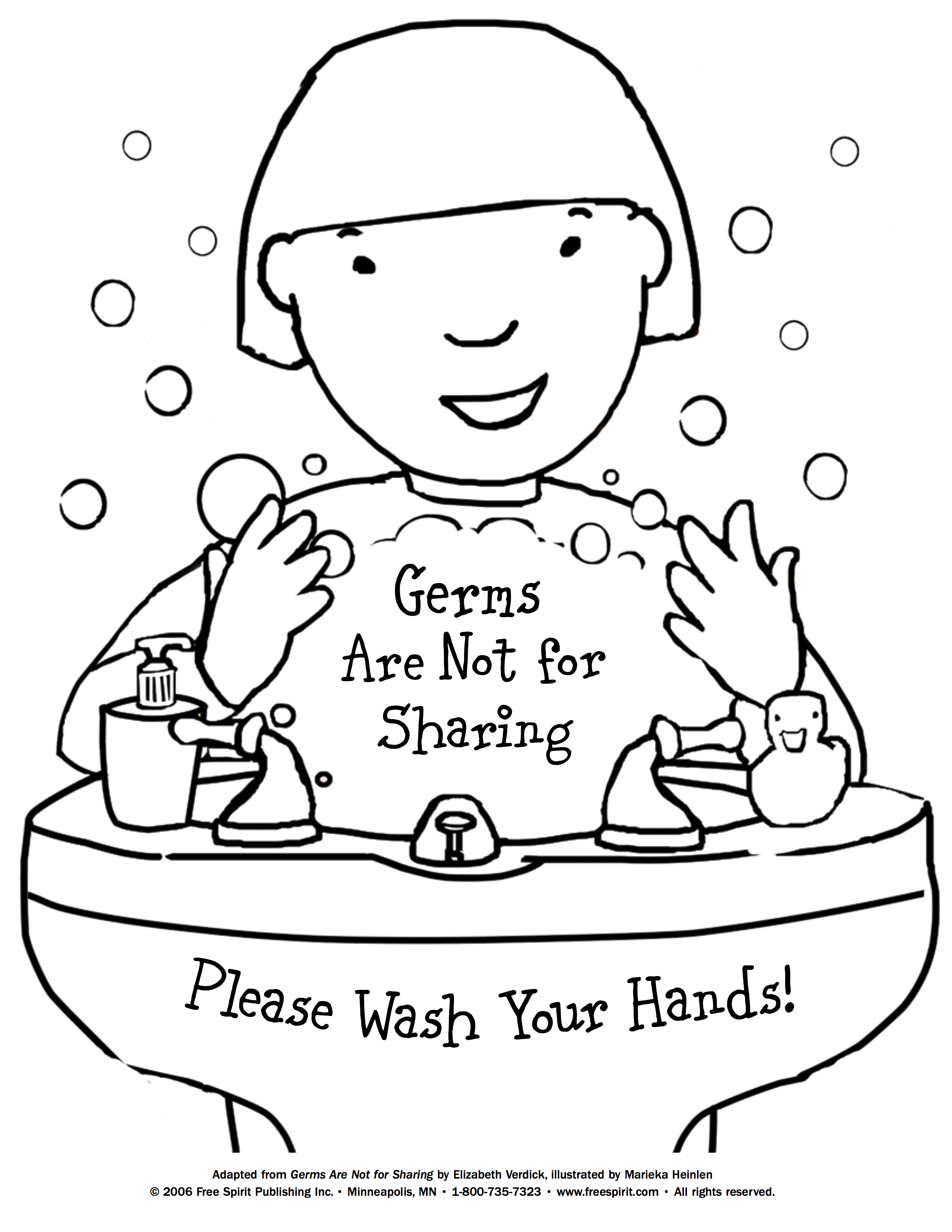 2550x3300 Free Printable Coloring Page To Teach Kids About Hygiene Germs