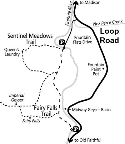 400x462 Fairy Falls, Imperial Geyser, Queen's Laundry Trail Map