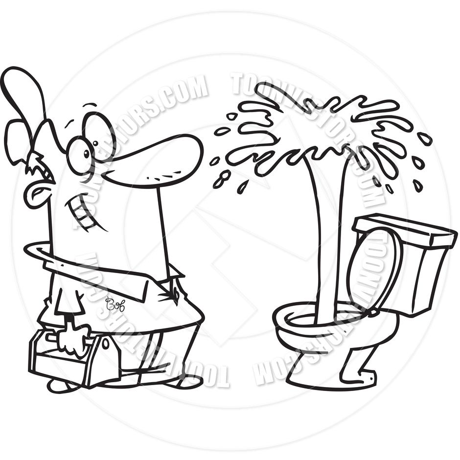 940x940 Cartoon Toilet Geyser (Black And White Line Art) By Ron Leishman