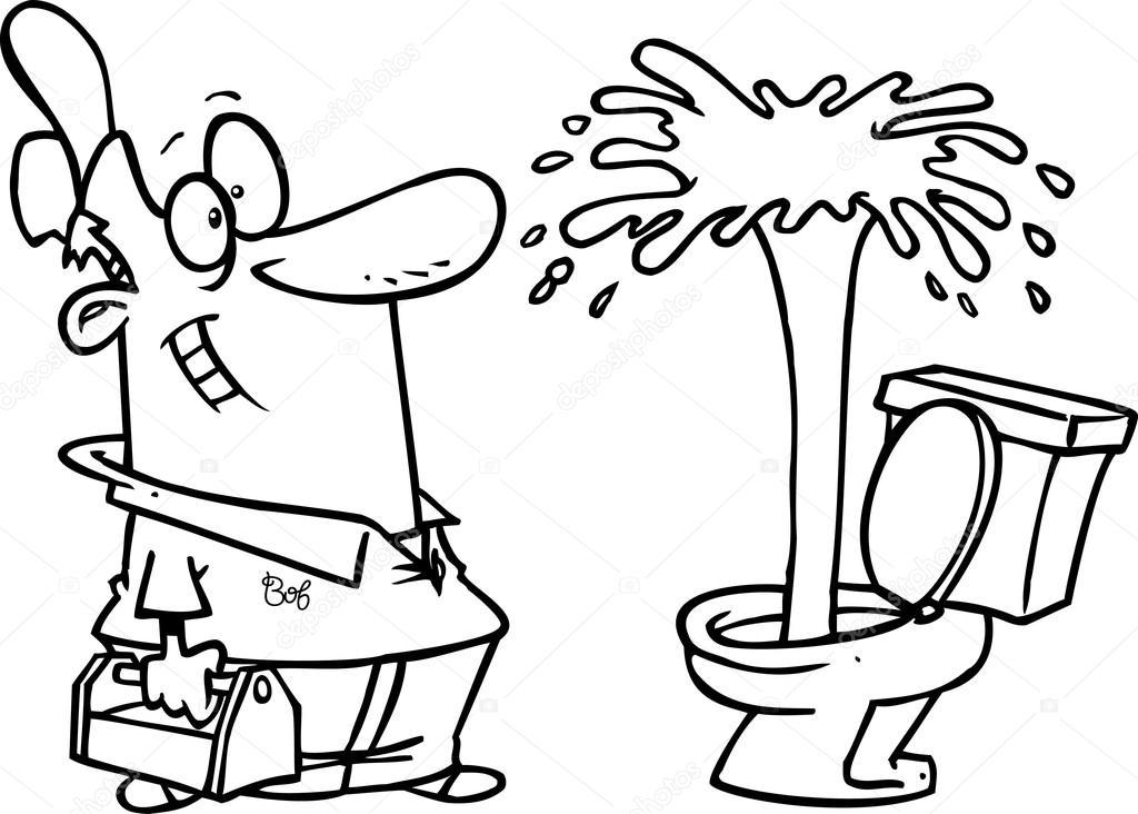 1024x732 Cartoon Plumber Admiring A Geyser In A Toilet Stock Vector
