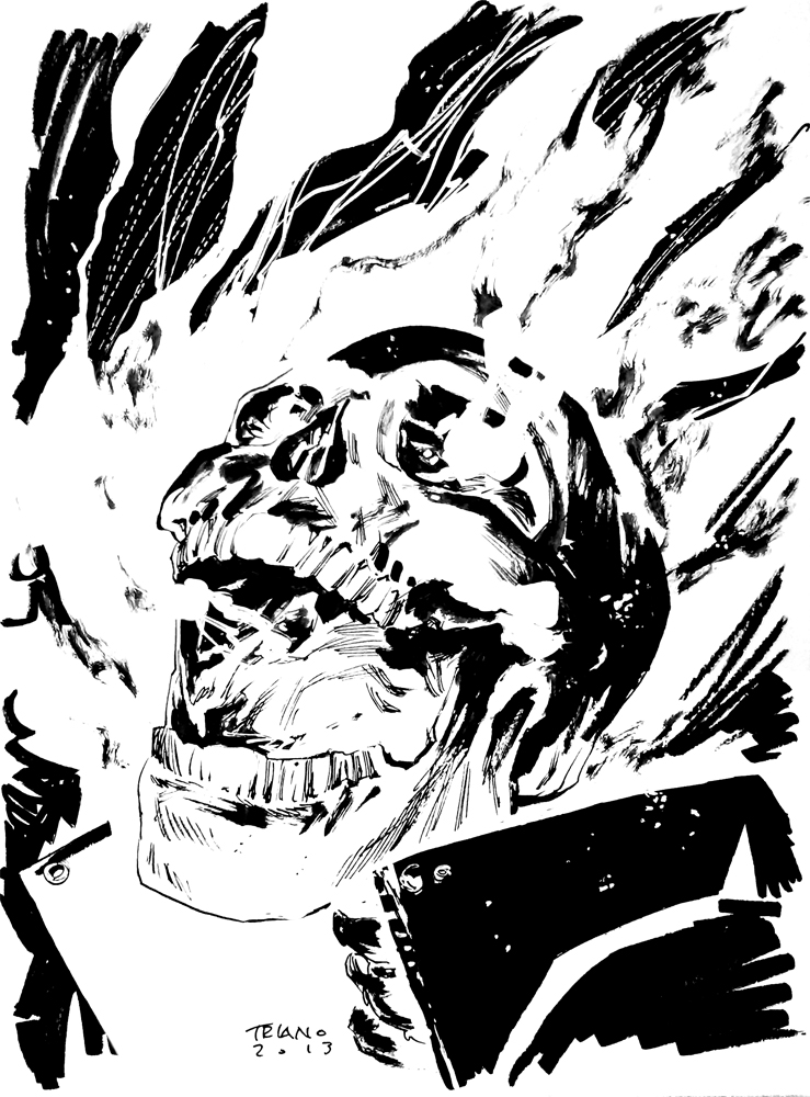 739x1000 Ghost Rider Head Sketch By Matttriano