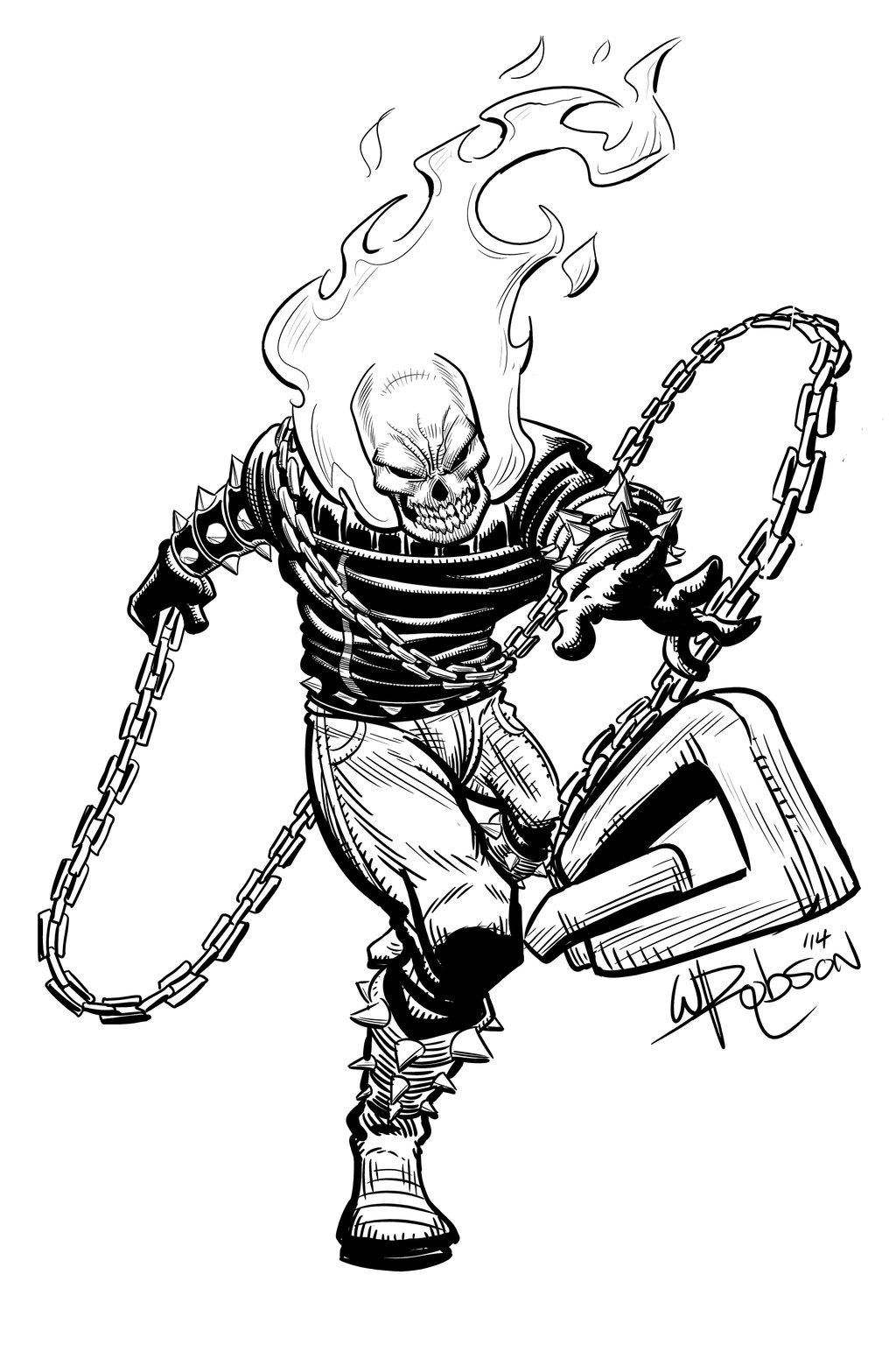 1024x1536 Ghost Rider Sketch By Robsonink