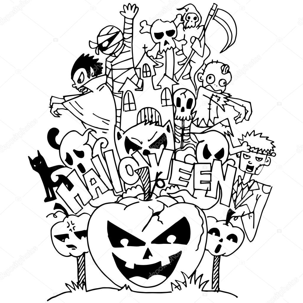 1024x1024 Halloween Ghost Doodle Art Stock Vector Wongsalam77