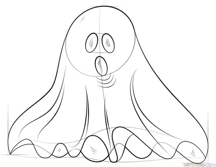 742x575 How To Draw A Ghost Step By Step Drawing Tutorials