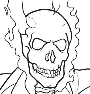 288x302 Ghost Rider Face Drawing