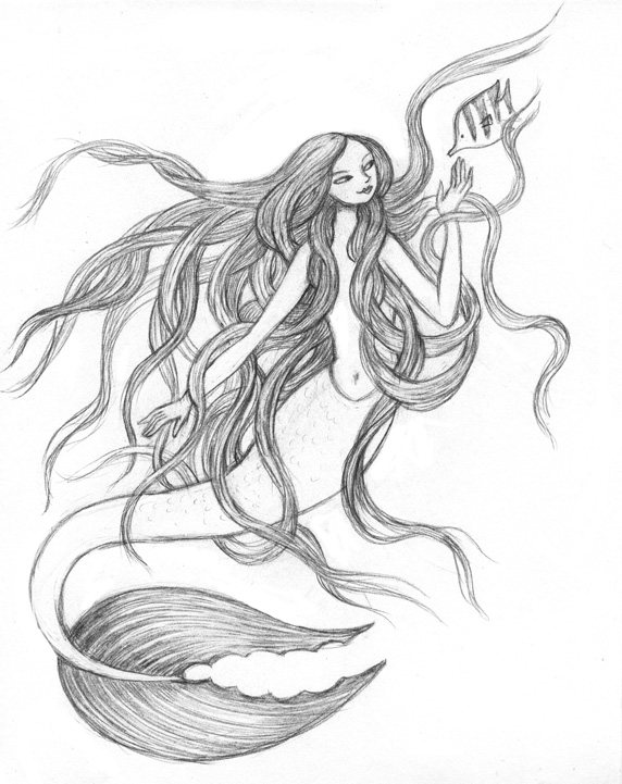 572x721 Artghost Another Mermaidgiant Hair Drawing