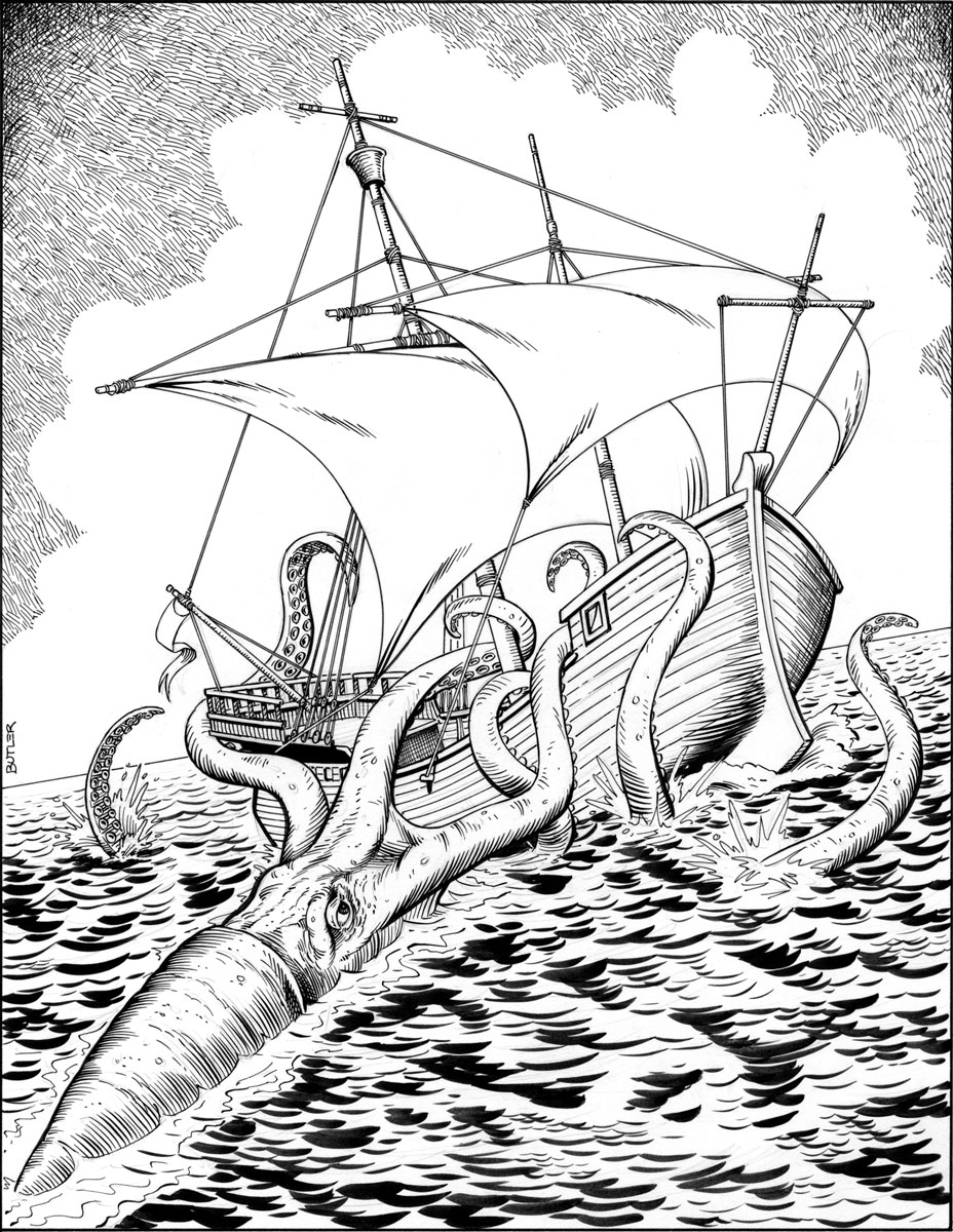 928x1200 Giant Squid Attack Game Module Interior Brush And Ink 1987