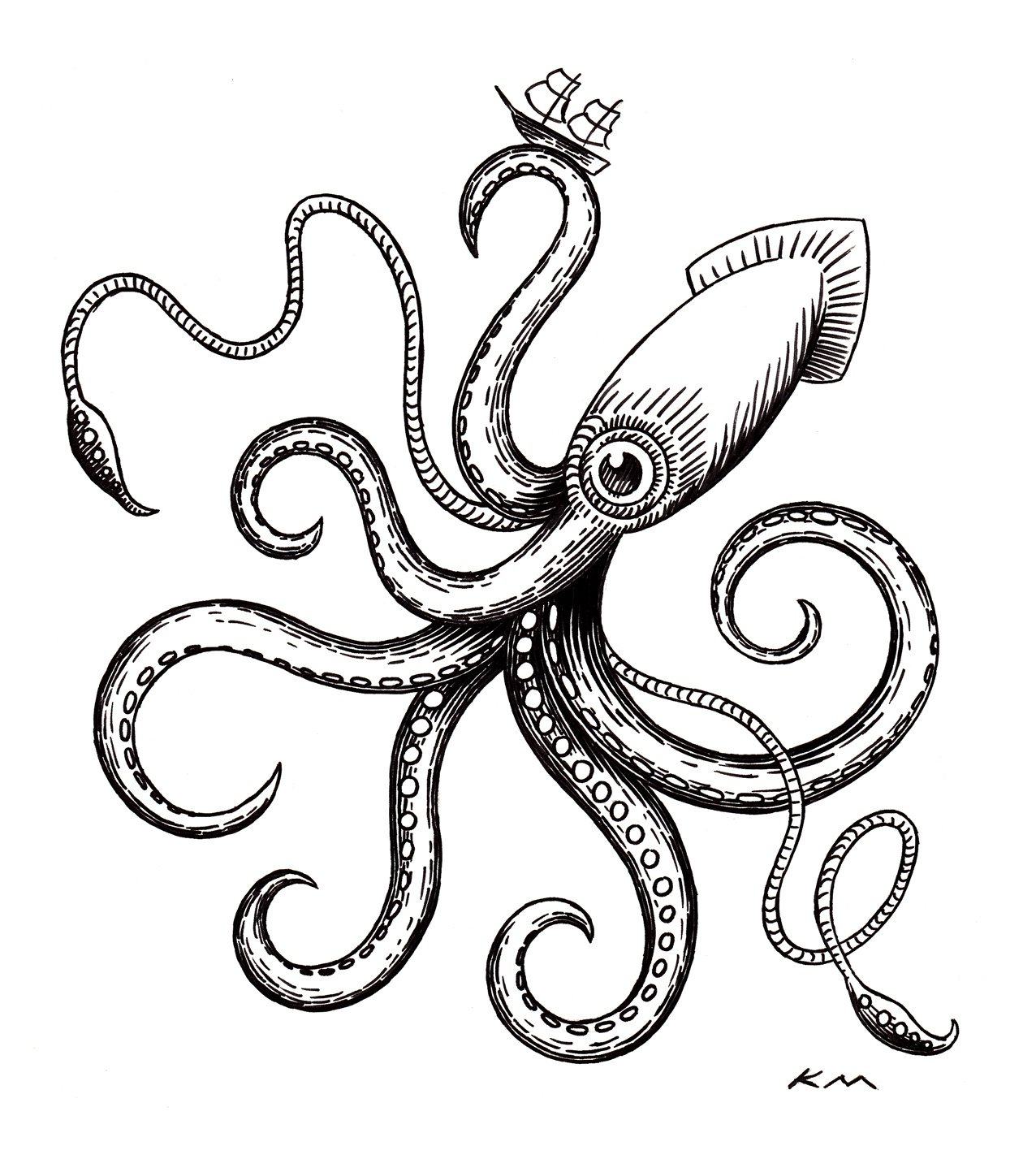 1276x1427 Giant Squid By Ken Molnar (C) 2013 Ink On Paper. For My Friends