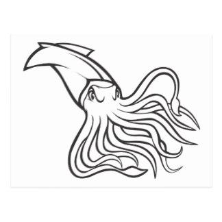 324x324 Cartoon Giant Squid Postcards Zazzle
