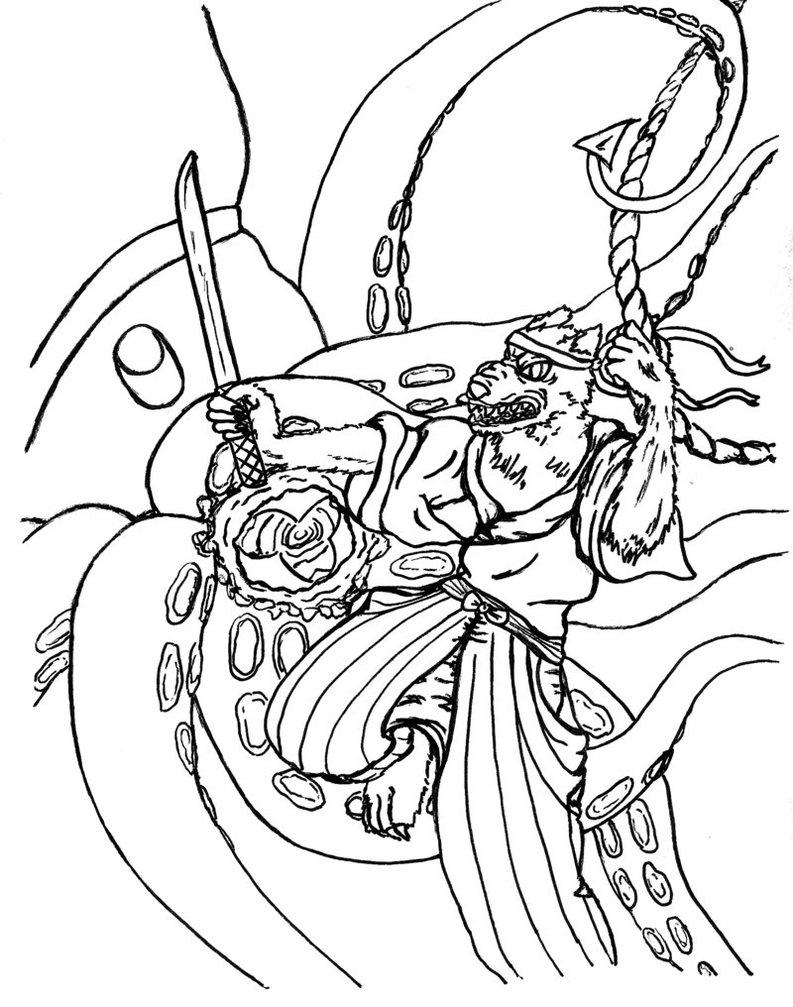 793x1007 Werewolf Samurai Vs The Giant Squid By Chiru Sama