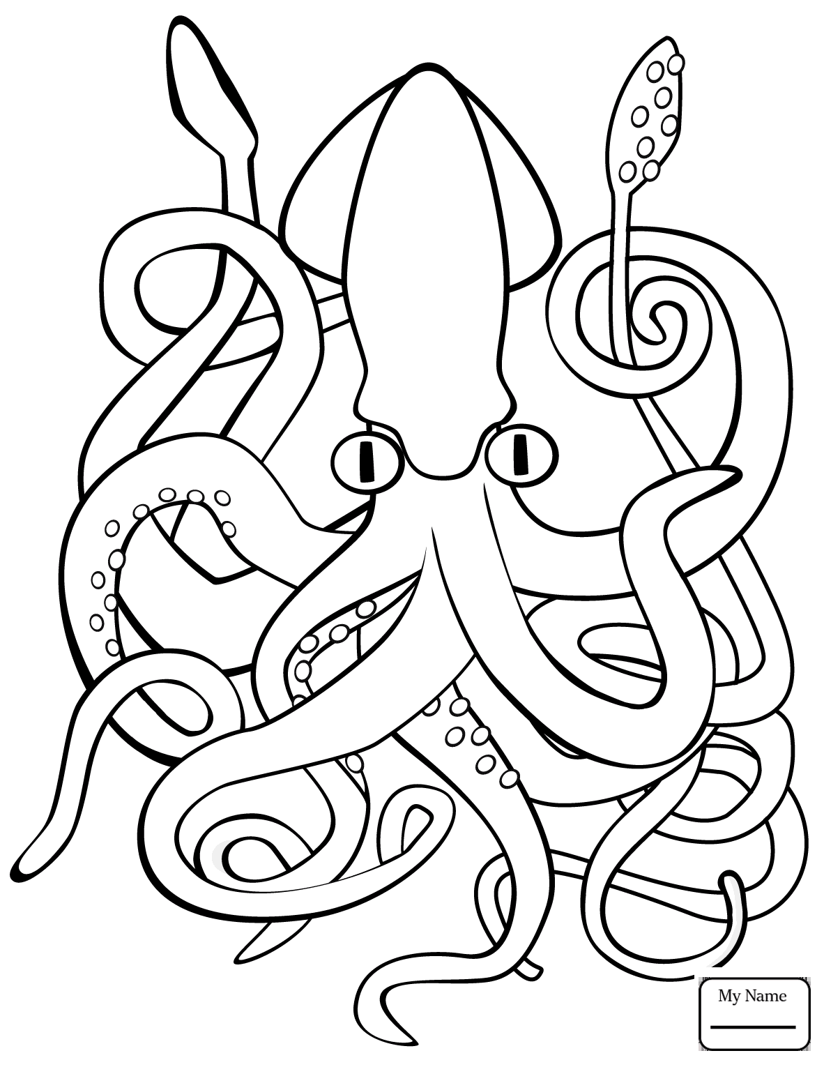 1182x1530 Coloring Pages For Kids Squid Mollusks Giant Squid