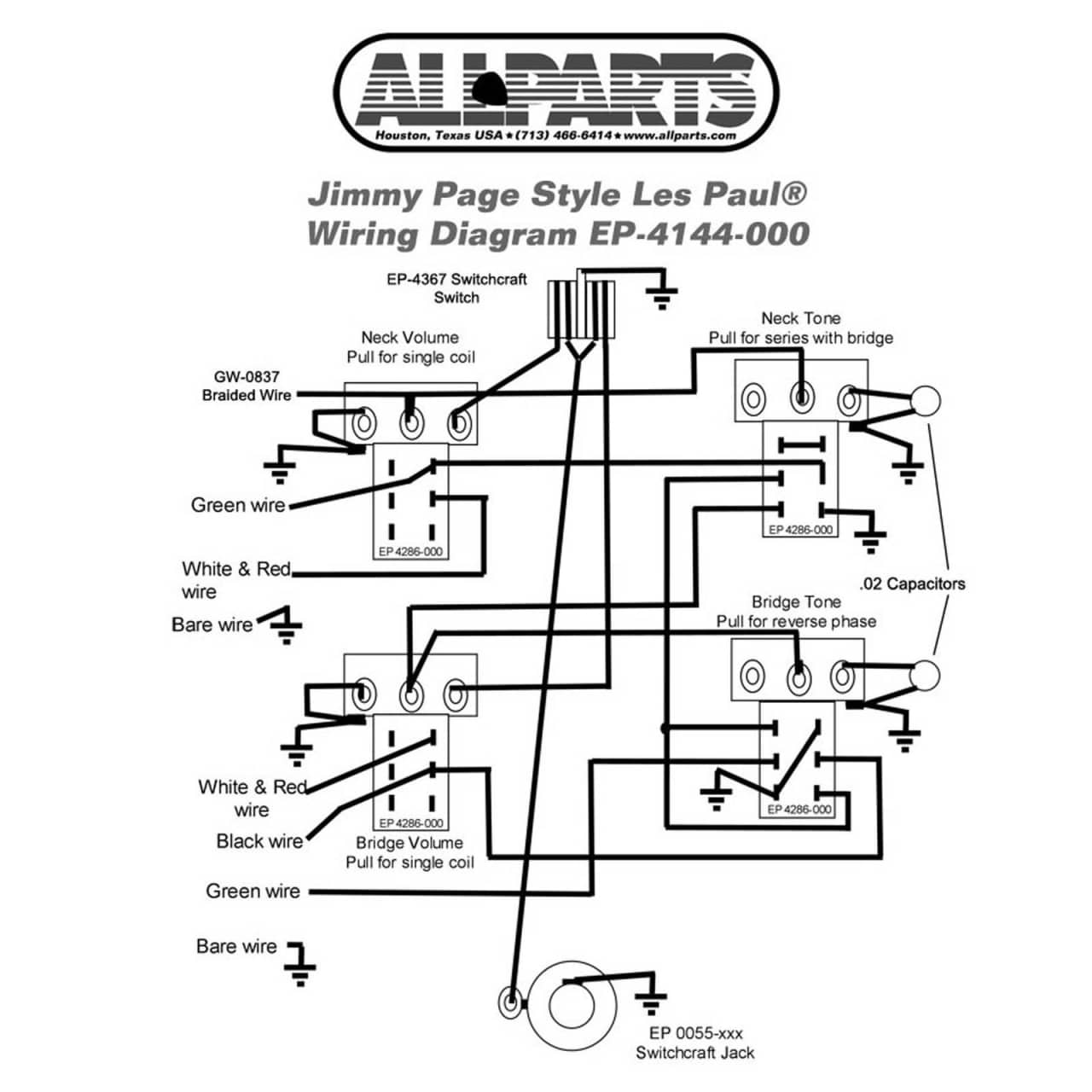 Gibson Les Paul Drawing At Free For Personal Use Standard Wiring Diagram Four Conductor 1280x1280 Kit Jimmy Page Complete With Reverb