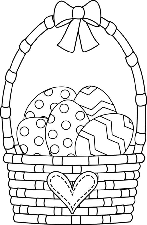 600x913 Easter Basket With Ribbon And Love Decoration Coloring Page