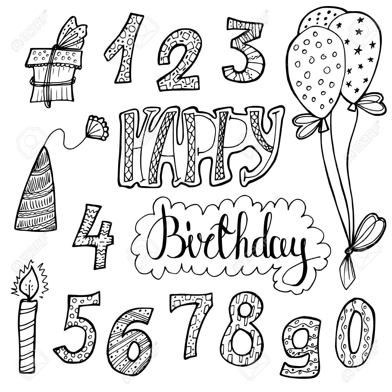 1300x1300 Happy Birthday. Doodle Set Of Birthday Decorations For Gift Card