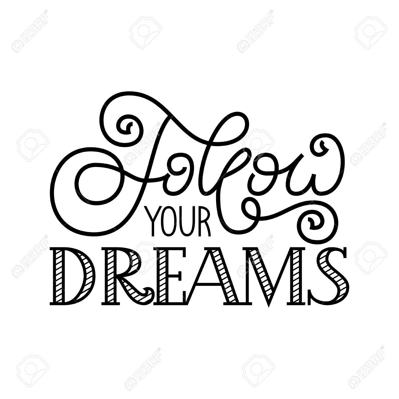 1300x1300 Holiday Gift Card With Hand Lettering Follow Your Dreams. Vector